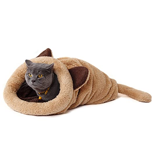 PAWZ Road Cat Sleeping Bag Fleece Soft Self Warming Camas Lavables para Gatos Snuggle Sack Matket Kitty Sack Adecuado para Gato y Cachorro Amarillo 60 ...