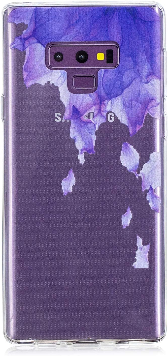 Clear Case for Samsung Galaxy J3 2018,Aoucase Ultra Thin Art Pattern Soft TPU Rubber Shockproof Non-Slip Back Case with Black Dual-use Stylus,Blue Flower