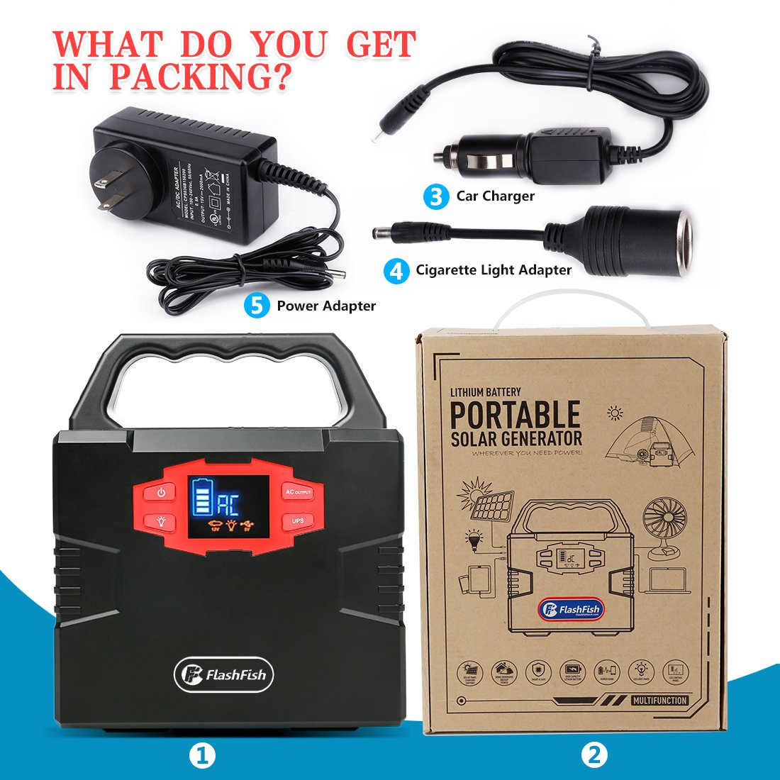 Portable Solar Generator, FlashFish 150Wh Power Station CPAP Battery for Camping, Outdoor Emergency Power Supply Lithium Backup Battery for Drone Camping Fishing, AC 110V Outlet/DC 12V Out/2 USB Ports by FF FLASHFISH (Image #9)
