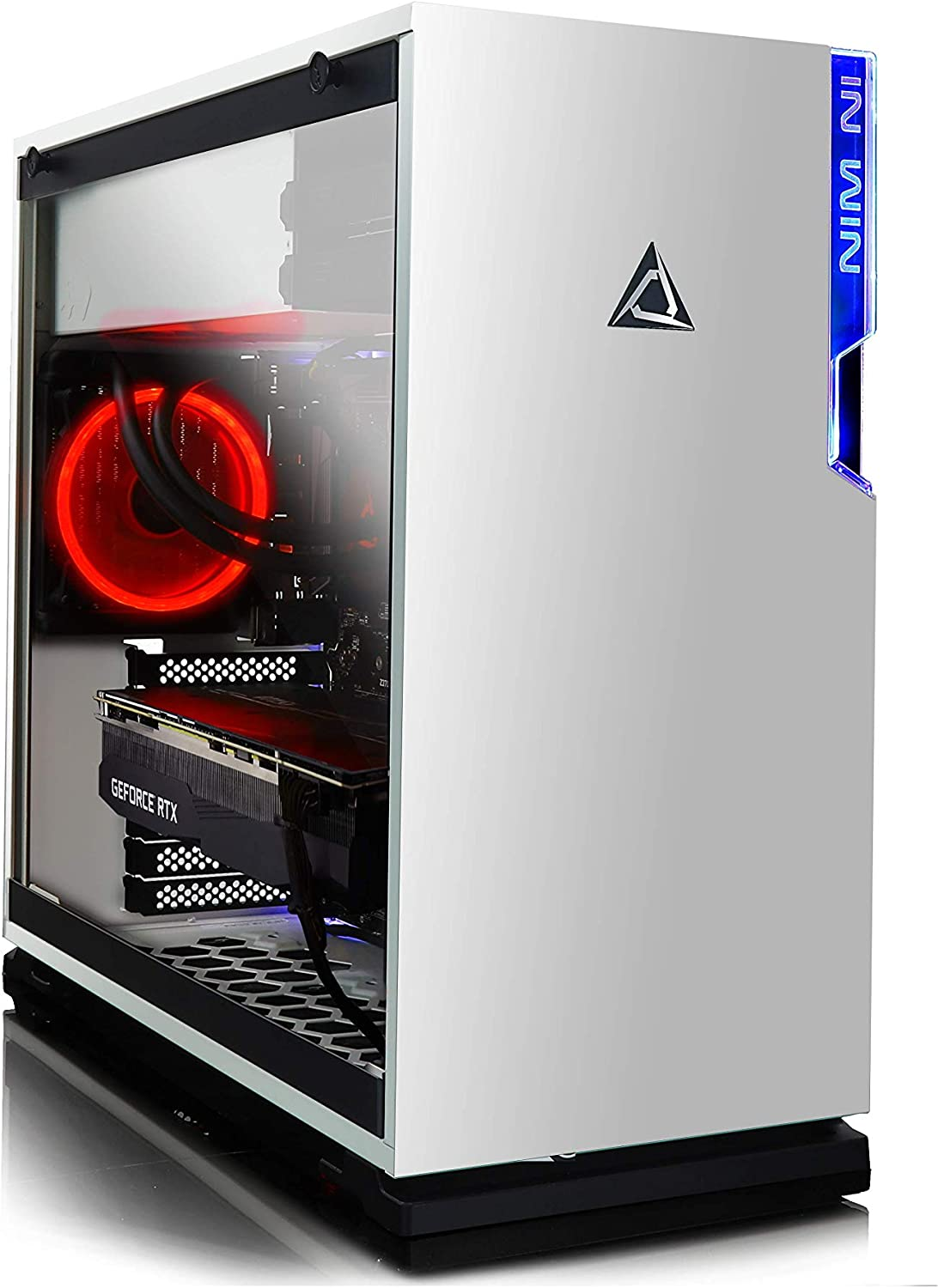 CLX Set Gaming Desktop - Liquid-Cooled Intel Core i7 9700K 3.6GHz 8-Core, 16GB DDR4, GeForce RTX 2060 6GB, 480GB SSD+3TB HDD, WiFi, White Mid-Tower Red Ring Fans, Windows 10 Home
