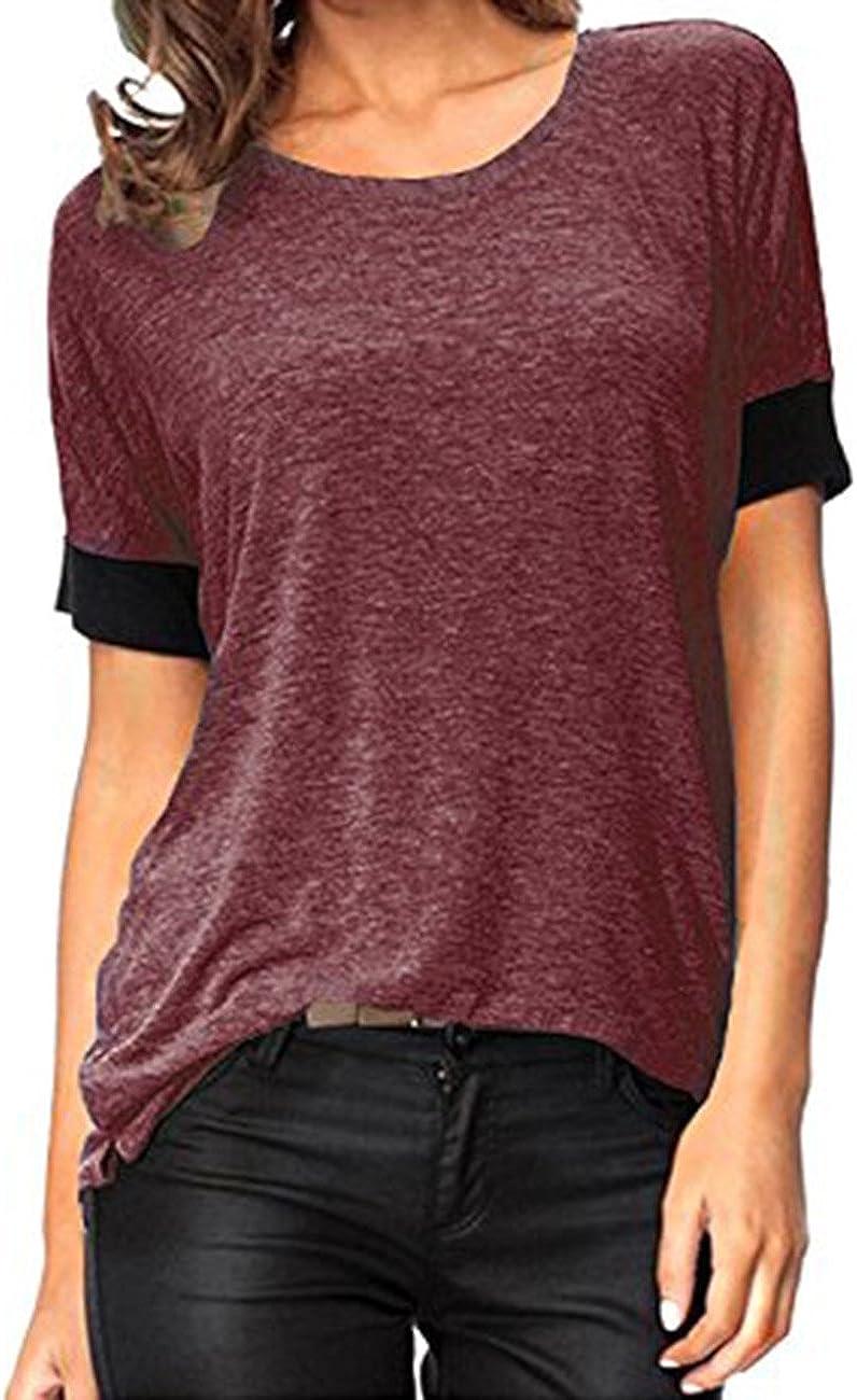 Women Pure color Comfy Loose Fit Short Cut Out Sleeve Cotton T-Shirt