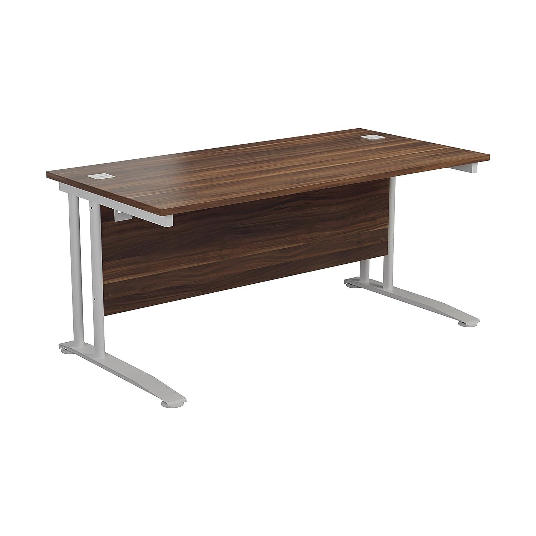 Office Hippo Pro Heavy Duty Rectangular Office Desk -120 cm, White Frame/Dark Walnut Top TC Group OHD0064WHDW