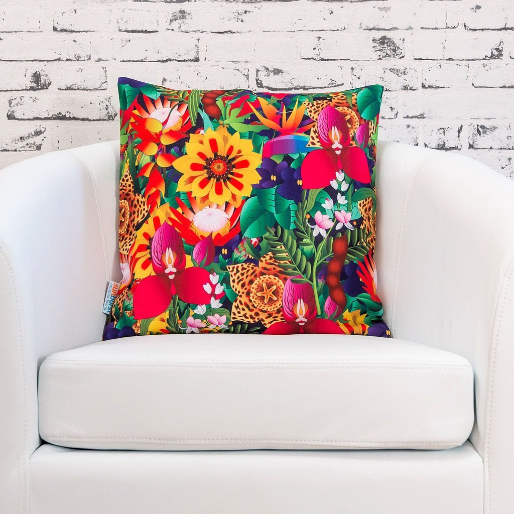 Bright Floral Colorful Large European Pillow Cover Indoor/Outdoor Flowers Decks, Sofas, Patios - Cover Only No Inner