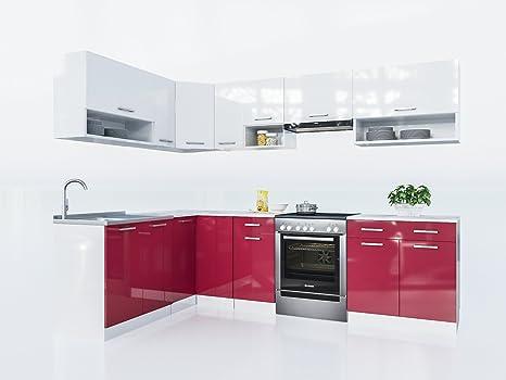 Eldorado möbel küche lux 270 cm rot l form küchenzeile eck küchenblock amazon de küche haushalt