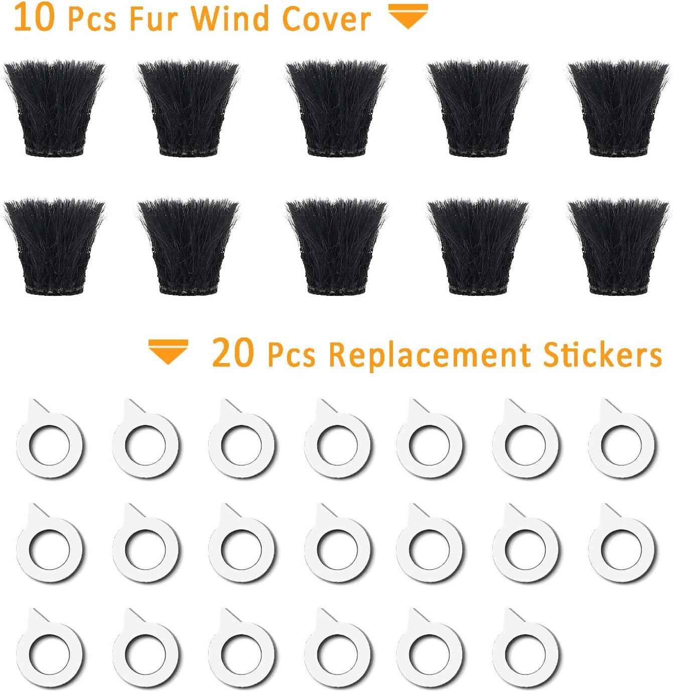 10 Pack Camera Mic Windscreen Windshield Wind Muff for DJI Osmo Action Camera,Sony RX1 RX10 RX100 Digital Compact Cameras Wind Cover by SUNMON