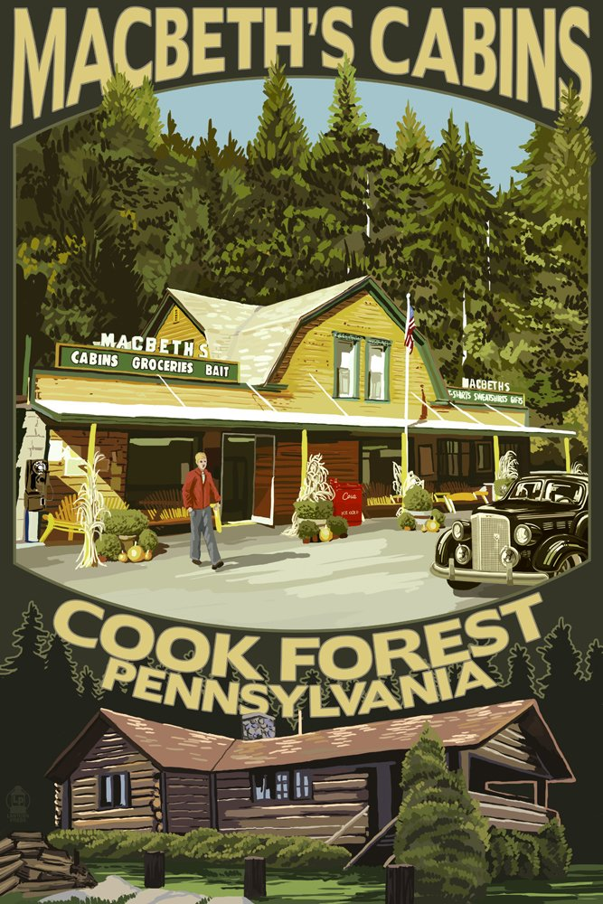 Amazon.com: MacBethu0027s Cabins   Cook Forest, Pennsylvania (24x36 Giclee Art  Print, Gallery Framed, White Wood): Posters U0026 Prints