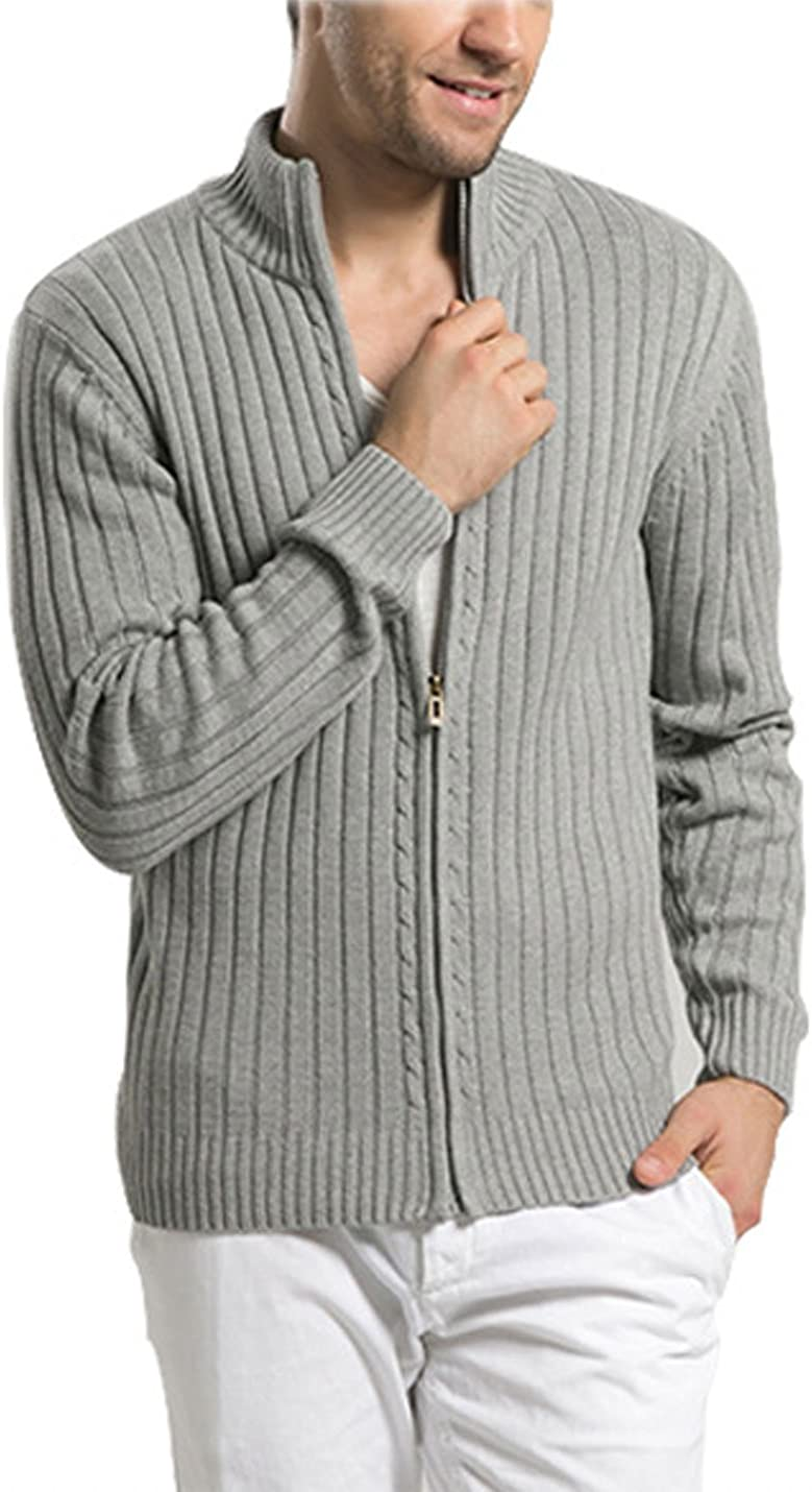 Yeokou Mens Casual Autumn Stand Collar Full Zip Up Knitted Cardigan Sweater