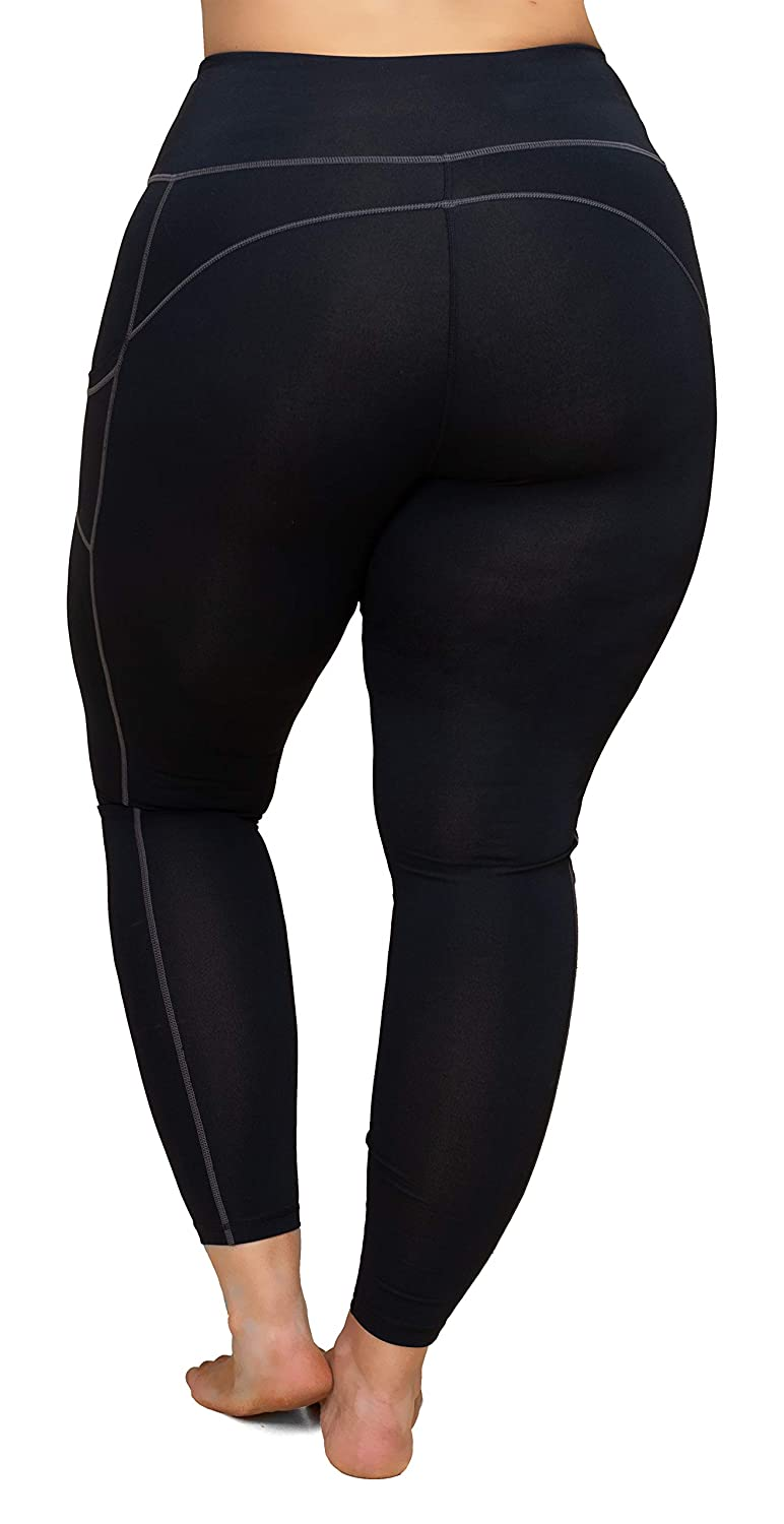 b632a56ec KQUZO Women s Plus Size High Waist 7 8 Compression Workout Leggings with  Pocket 27
