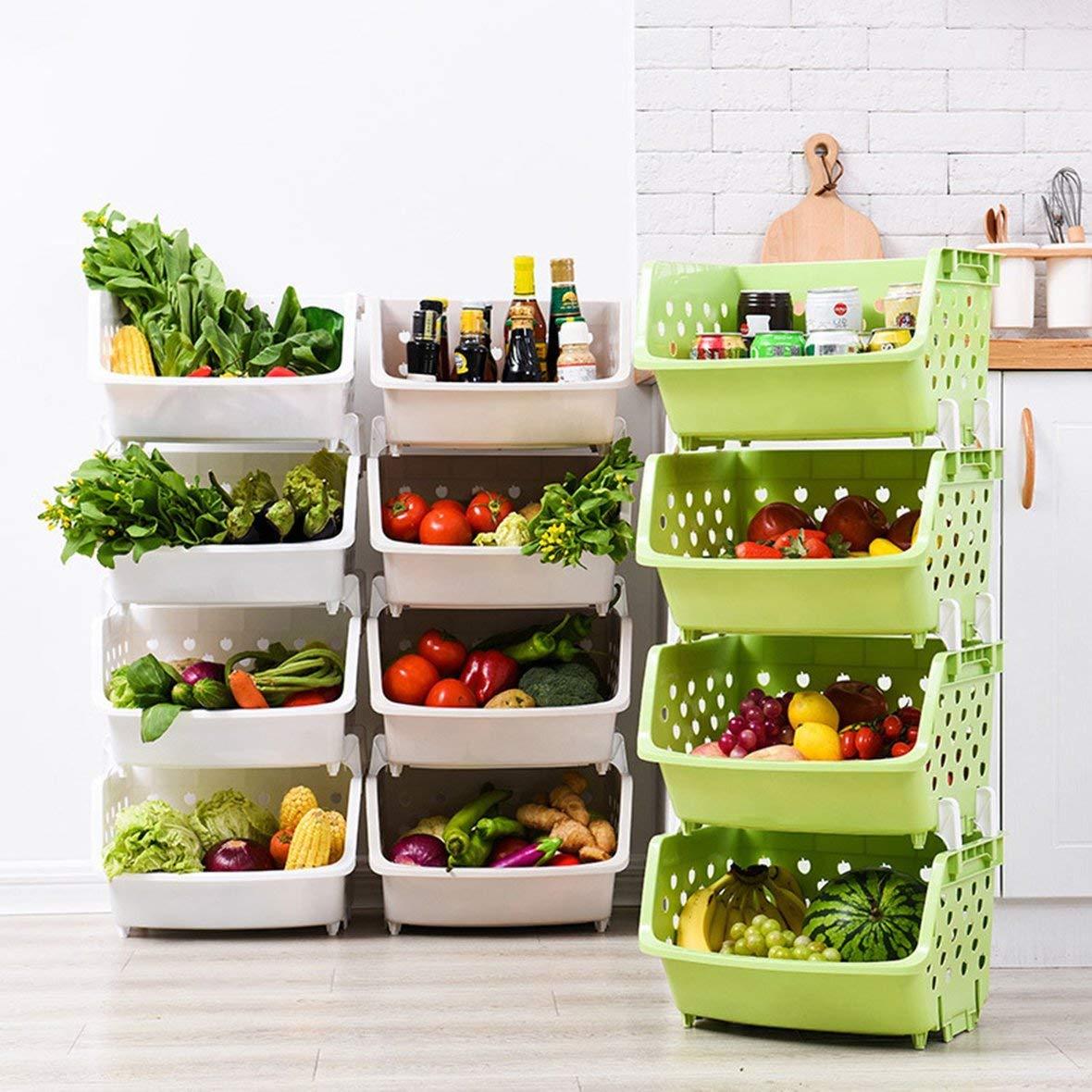 Heaviesk Estanter/ía de Cocina apilable de 4 Capas Cesta de Frutas y Verduras Verde.