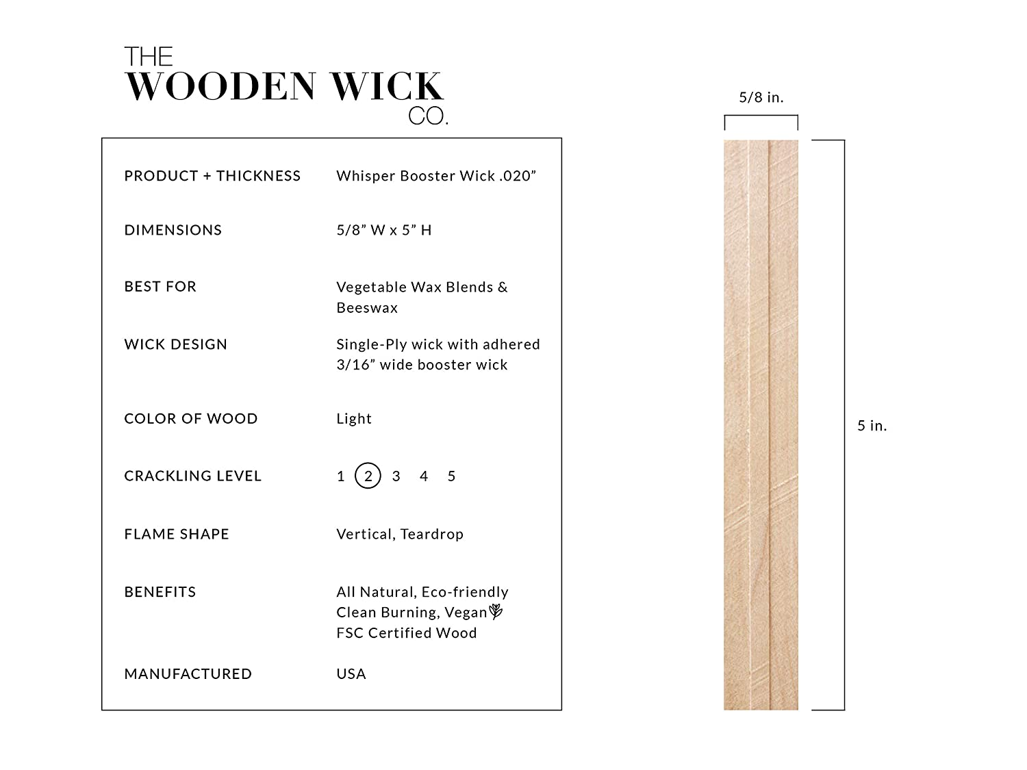 """Authentic Wood Wick Candle Making Supplies with Metal Stand 5/"""" Candle Wicks /""""The Whisper Booster Wick .02/"""" for Vegetable Blended /& Beeswax with Jar Diameter 3.5 to 4 The Wooden Wick Co"""