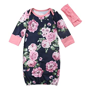 bea404c1d Newborn Baby Girl Floral Nightgowns with Headband Sleeper Gown Take Home  Outfit (0-3