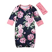 Newborn Baby Girl Floral Nightgowns with Headband Sleeper Gown Take Home Outfit (0-3 Months) Pink