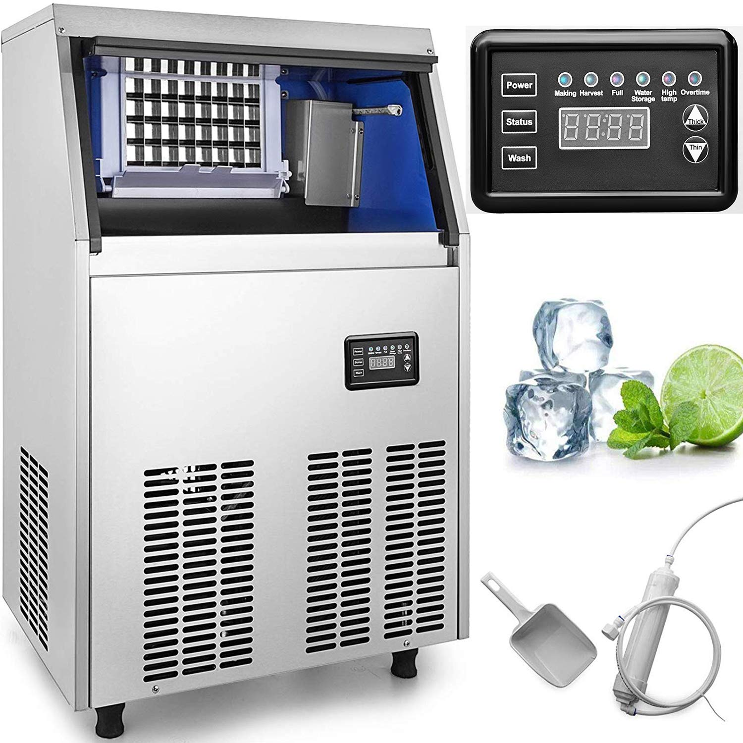 VEVOR 110V Commercial Ice Maker 110LBS/24H with 44lbs Storage Capacity Stainless Steel Commercial Ice Machine 40 Ice Cubes Per Plate Industrial Ice Maker Machine Auto Clean for Bar Home Supermarkets