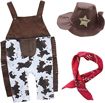 COSLAND Baby Boys Western Cowboy Bodysuit 3PCS Halloween Costume Outfit Sets with Hat Handkerchief