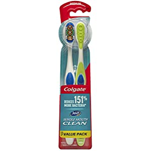 Colgate 360° Toothbrush with Tongue and Cheek Cleaner, Medium - 2 Count