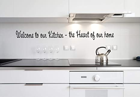 Quote It Welcome To Our Kitchen Vinyl Wall Lettering Sayings Phraseswords Sticky Art Home Decor Quote Kitchen Wall Decor Family Home