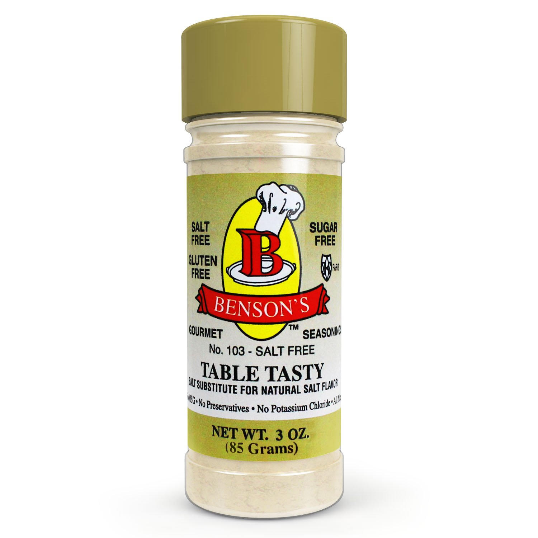 Benson's - Table Tasty No Potassium Chloride Salt Substitute - No Bitter After Taste - Good Flavor - No Sodium Salt Alternative - New Size 3 oz Bottle with Shaker Top