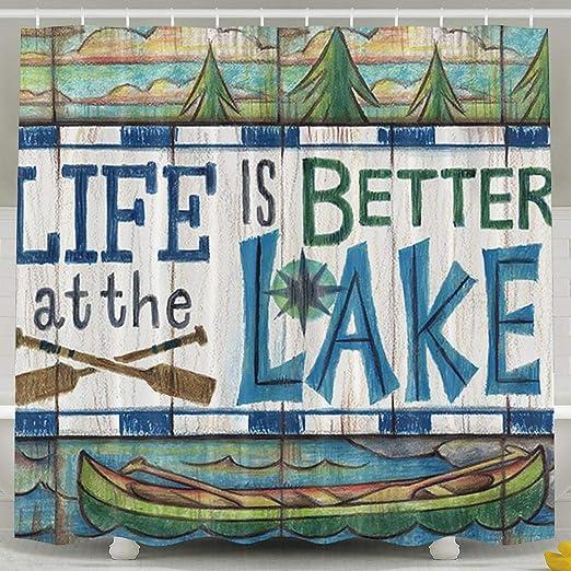 Fish bathroom art prints bath rules wave runner shower curtain decor blue green