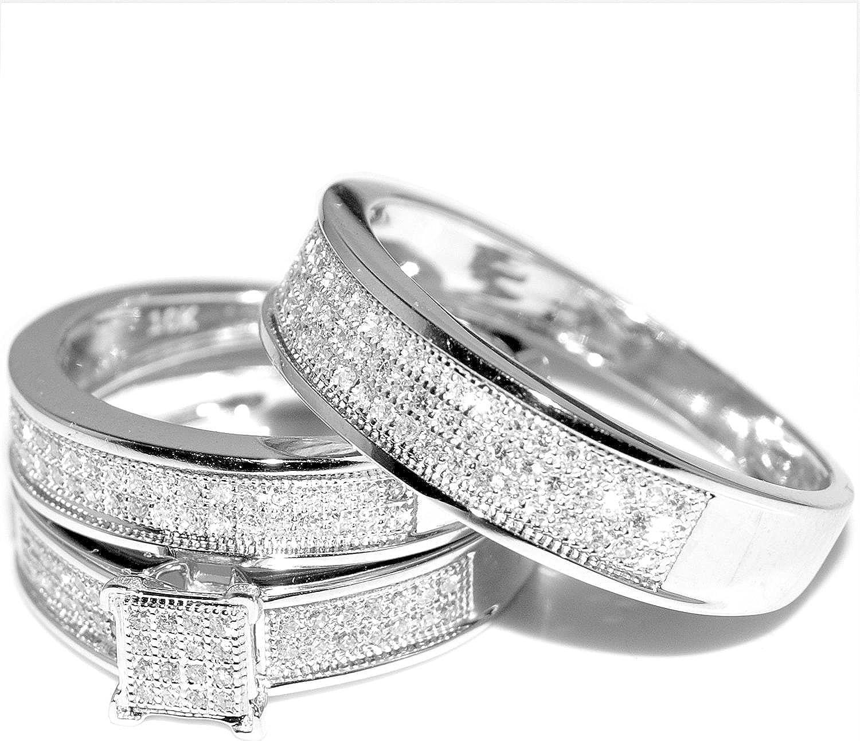 White Gold Trio Wedding Set Mens Womens Wedding Rings Matching