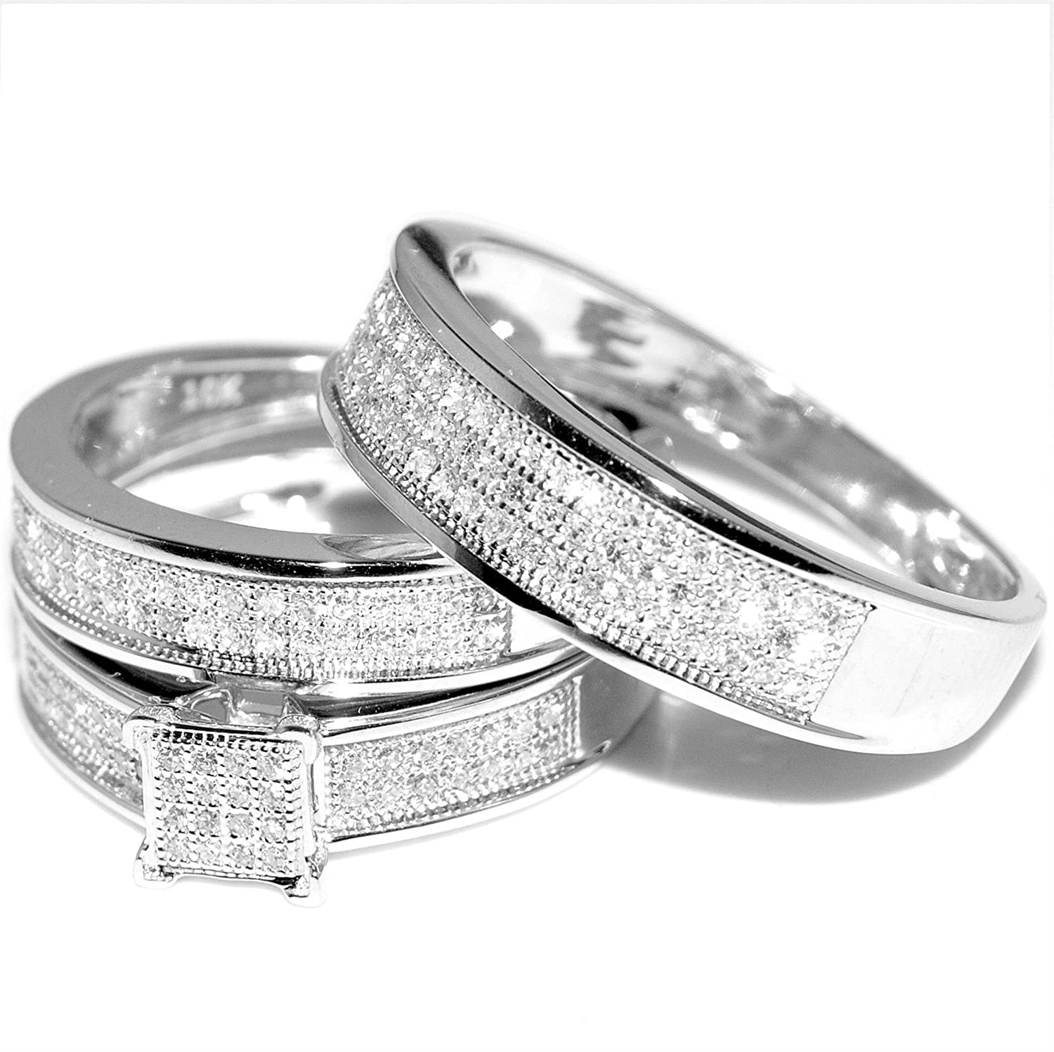 White Gold Trio Wedding Set Mens Womens Wedding Rings Matching 0 40
