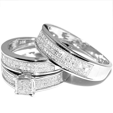 White Gold Trio Wedding Set Mens Womens Wedding Rings Matching 040