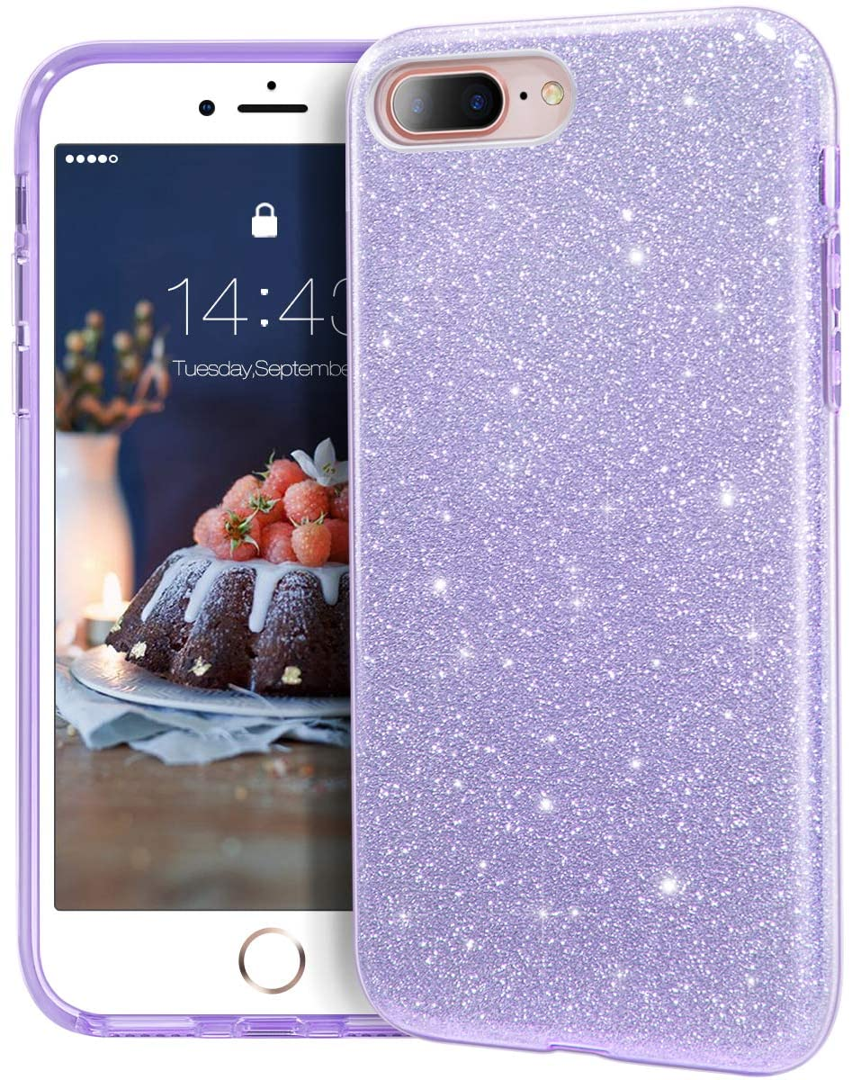 "MATEPROX iPhone 8 Plus case,iPhone 7 Plus Glitter Bling Sparkle Cute Girls Women Protective Case for iPhone 7 Plus/8 Plus 5.5"" (Purple)"