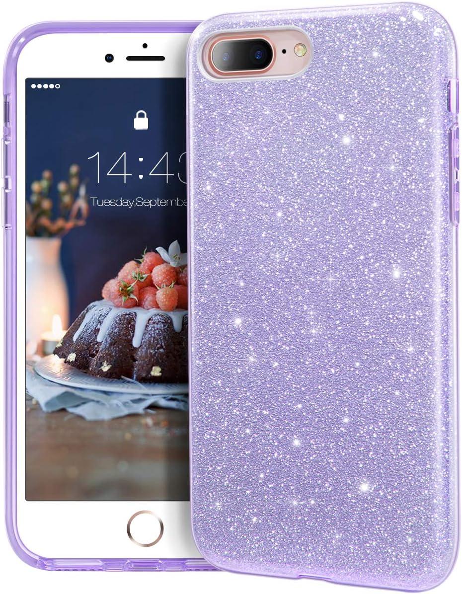 "MATEPROX iPhone 8 Plus case,iPhone 7 Plus Glitter Bling Sparkle Cute Girls Women Protective Case for iPhone 7 Plus/8 Plus 5.5"" (Purple)"