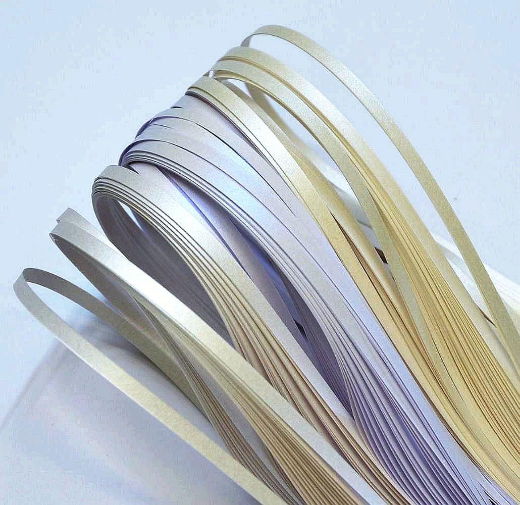 Quilling strisce di carta, nastri colore metallico - perla dal bianco (3 colori), 350 millimetri di lunghezza, 150 pezzi. larghezza di 5mm Enitan Q-50501