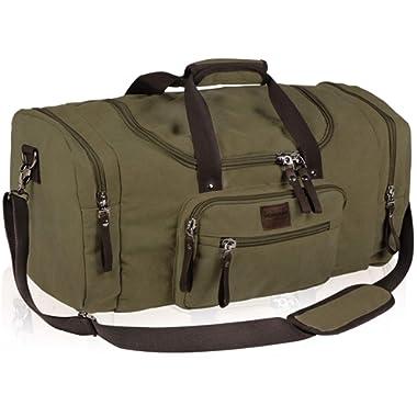 Dream Hunter Oversized Canvas Travel Tote Duffel Bag for Men Shoulder Weekender Overnight Carry on Luggage Storage Duffle Bag (Khaki)
