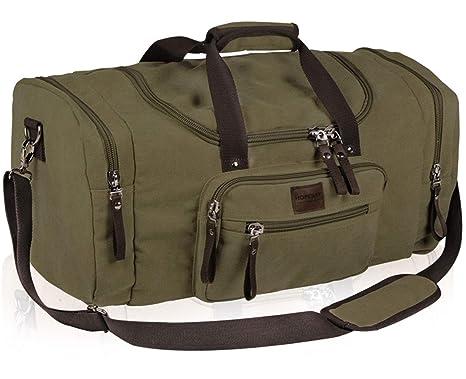 cf864331b3b52b Amazon.com   Dream Hunter Oversized Canvas Travel Tote Duffel Bag for Men  Shoulder Weekender Overnight Carry on Luggage Storage Duffle Bag (Khaki)    Travel ...