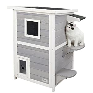 Petsfit 2-Story Weatherproof Outdoor Kitty Cat House