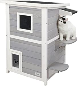 """Petsfit 2-Story Weatherproof Outdoor Kitty Cat House/Condo/Shelter with Escape Door 20"""" Lx20 Wx32 H"""