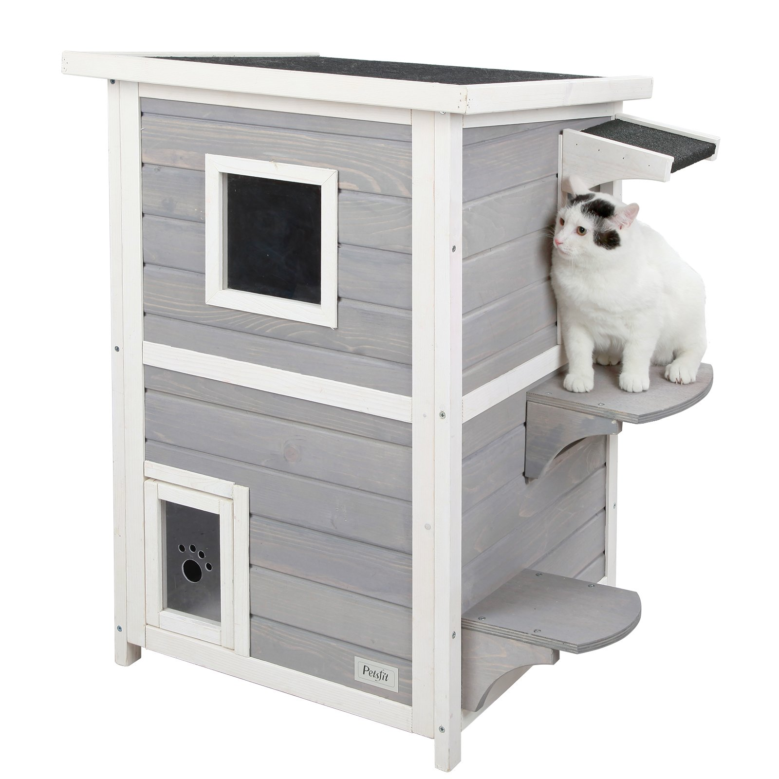 Petsfit 2-Story Weatherproof Outdoor Kitty Cat House/Condo/Shelter with Escape Door 20″ Lx20 Wx32 H