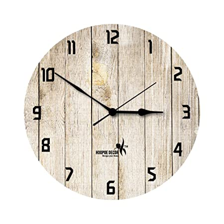 Hoopoe Decor MDF Rusted Wooden Plank Trendy Wall Clock (28 cm x 0.8 cm x 28 cm),Multicolor Wall Clocks at amazon