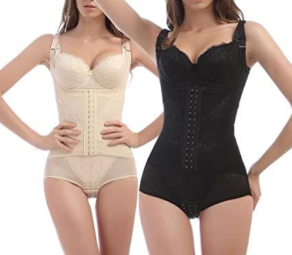 9df61aaabe3ae iLoveSIA Womens Full Bodysuit Body Shaper Shapewear 2Pack Nude+Black UK Size  14  Amazon.co.uk  Clothing