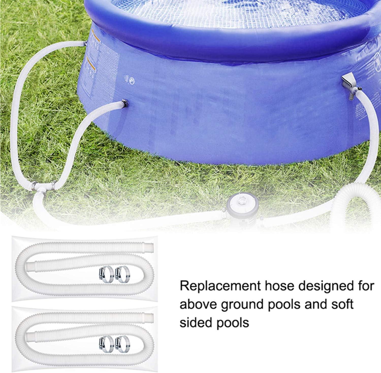 Poolschlauch Filterschlauch Poolpumpe Ersatzschlauch Ersatzschlauch 1,25 Zoll Durchmesser 59 Zoll Langer Filterpumpenschlauch mit 4 Metallklemmen