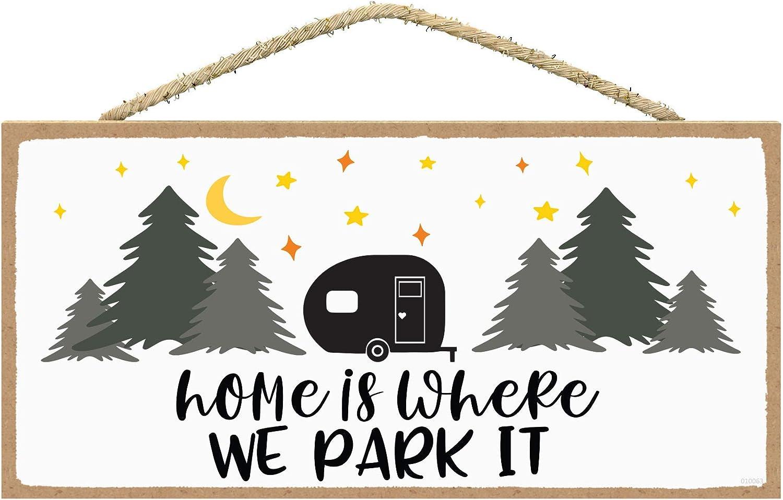 SARAH JOY'S Camper Decor - RV Decor - Camper Decorations - Happy Camper Decor - Camping Decor Sign - Camping Sign 5 x 10 inches (Horizontal)