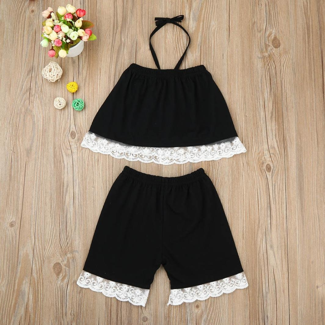 LNGRY Toddler Kids Baby Girls Summer Outfits Lace Vest Tops T-Shirt+Shorts Pants