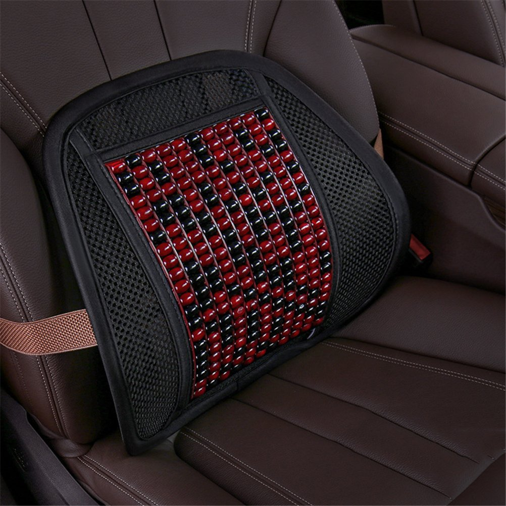 GFYWZ Car Lumbar Support Cushion, Mesh Back Massage Beads Breathable Lumbar Pillow For Car Office Seat Or Chair Back Rest,A