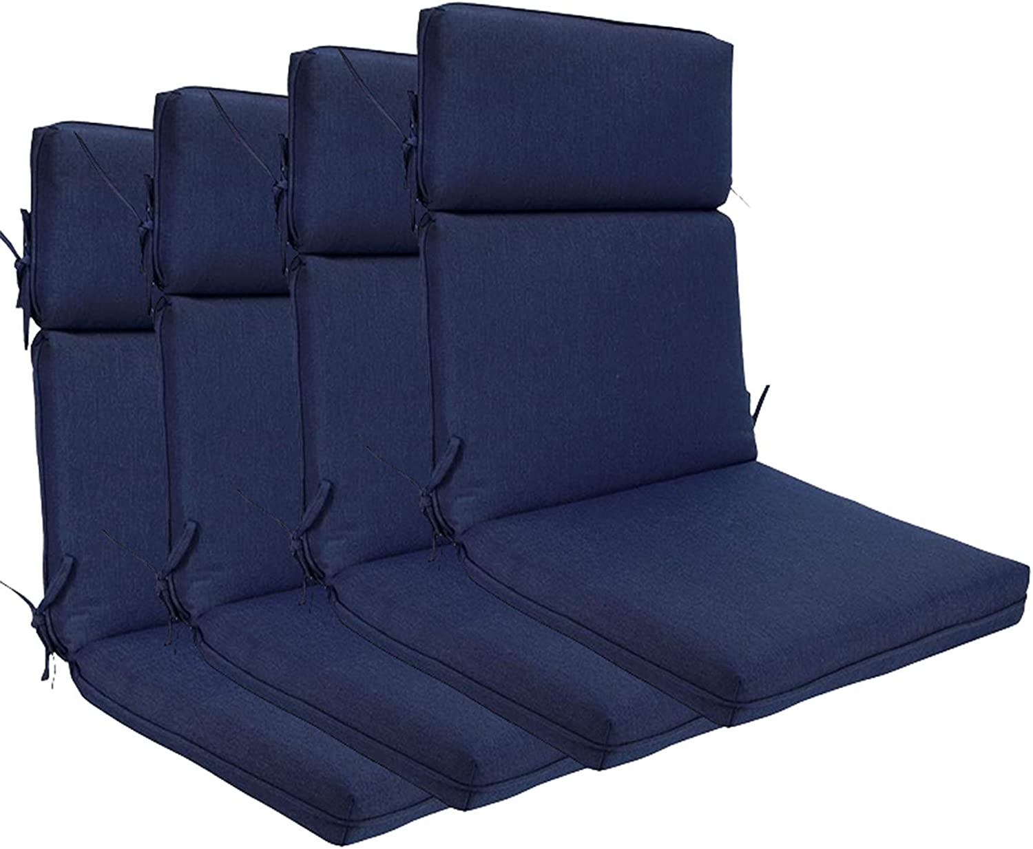 BOSSIMA Indoor Outdoor High Back Chair Cushions Replacement Patio Chair Seat Cushions (Olefin Navy Blue)