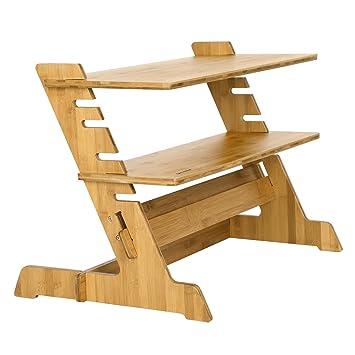 SONGMICS Mesa para Ordenador de pie Soporte de bambú Altura ...