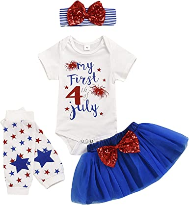 Independence day Patriotic Summer Outfit with Free Bow Girls July 4th July 4th First 4th of July Baby Girls Outfit