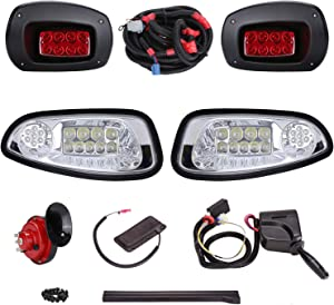 10L0L Golf Cart LED Light Kit,Headlight Tail Light Turn Signal Switch Horn Brake Lights with 9-pin Upgrade Kit Fits EZGO RXV 2008-2015,Not Applicable for RXV Second Generation (Must Input 12 Volts)