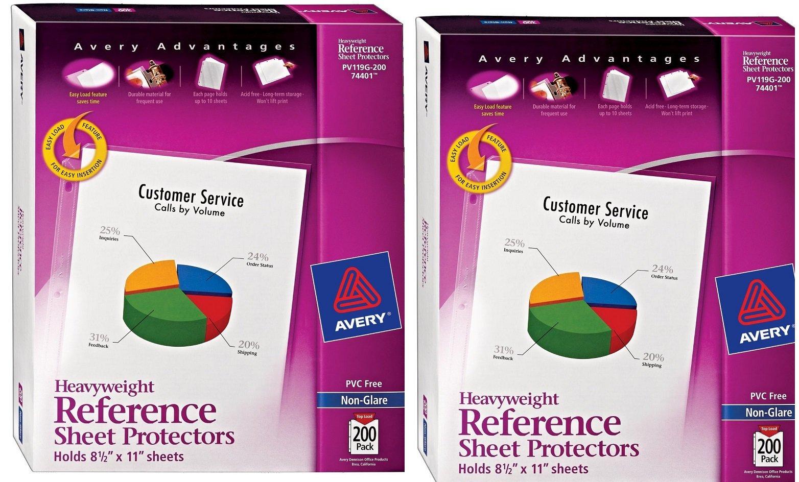 Avery Non-Glare Heavyweight Sheet Protectors DAscme,Top Loading, 400 Sheets (74401)