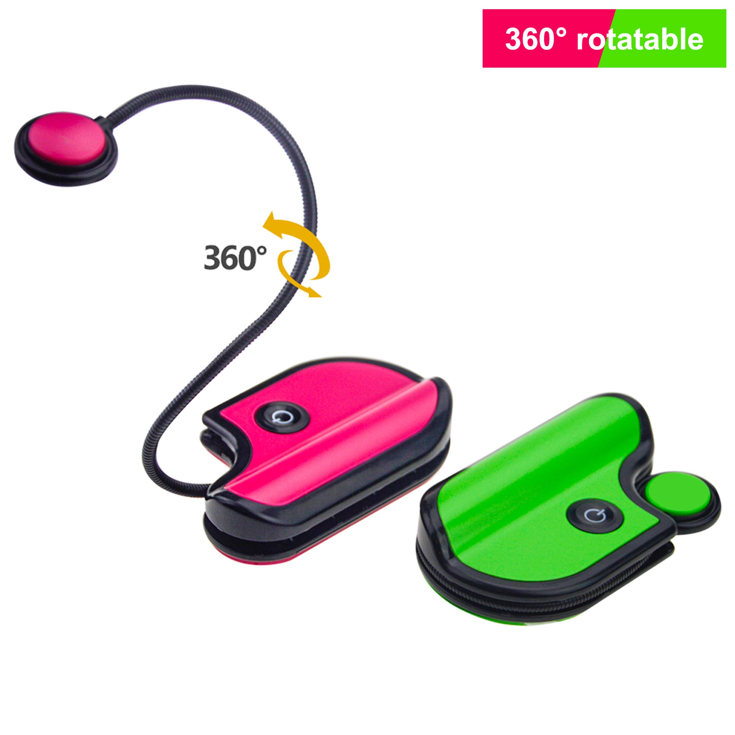 BIGLIGHT Book Reading Light Battery Operated Clip on Lights with Brightness Dimmer and Portable Folding Bed Reading Light for Kids Teens and Bookworms - 2 Pack Mini Size.(Green and Pink)