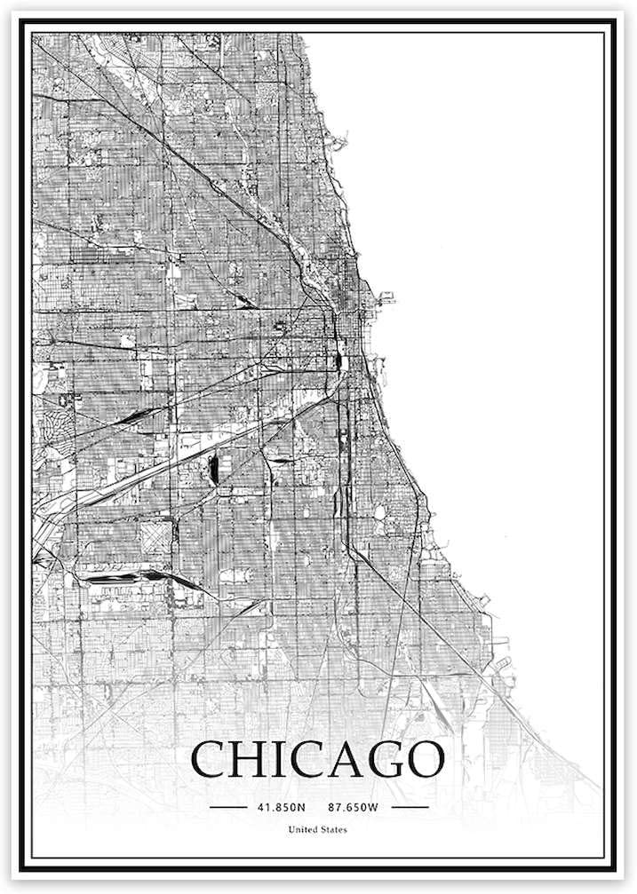 USA IL Chicago Black&White Minimalist Art 20×28 City Map Painting Poster Home Decor Gift