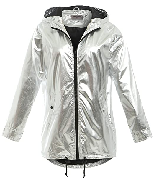 best choice better latest style SS7 New Womens Silver Metallic Rain Mac Waterproof Raincoat ...