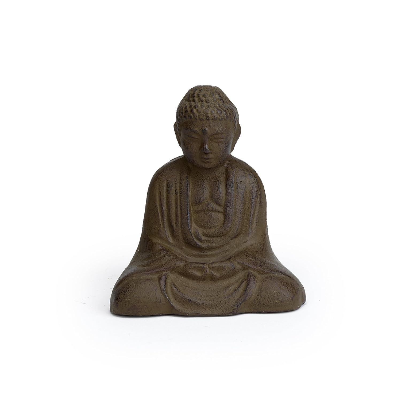 Abbott Collection Cast Iron Sitting Buddha Garden Sculpture, Brown