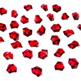 Acrylic Color Ice Rock Crystals Treasure Gems for Table Scatters, Vase Fillers, Event, Wedding, Arts & Crafts, Birthday Decoration Favor (190 Pieces) by Super Z Outlet (Red)