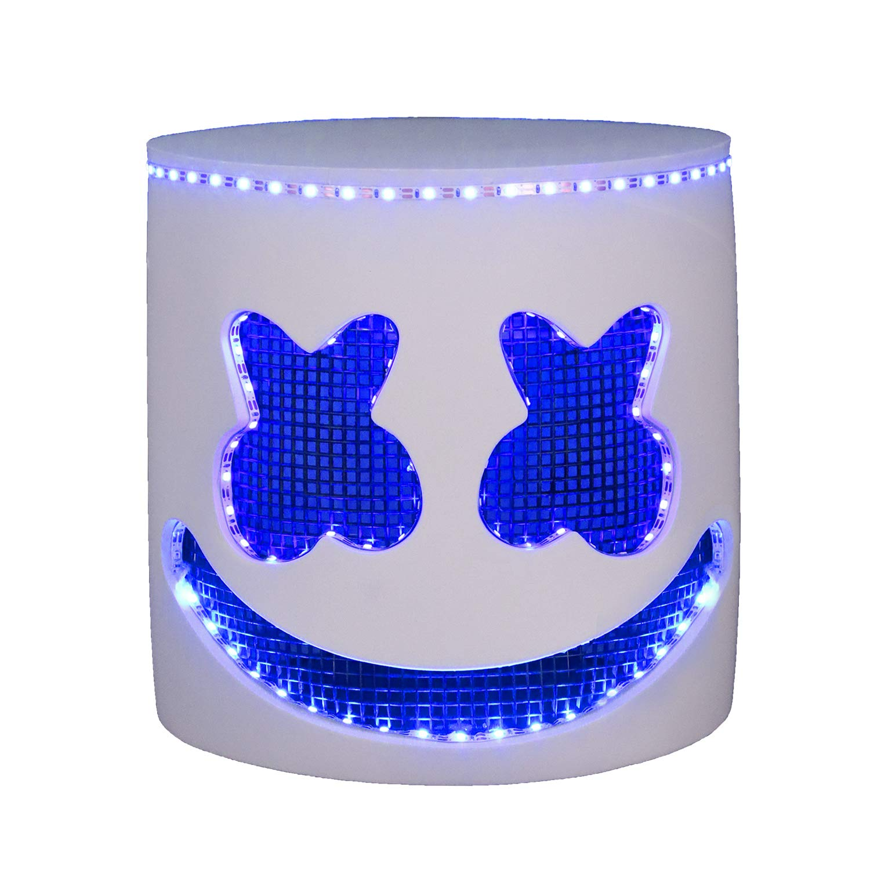 LED Light Up DJ Marshmellow Helmet, EVA Marshmell Costume Head Mask Blue Glowing Lights